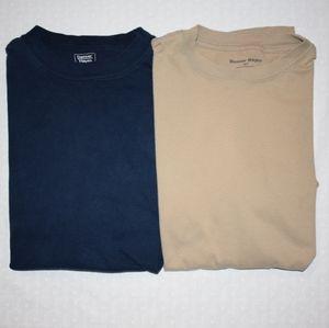 Blue & Tan Men's Crew Neck Short Sleeve T-Shirts